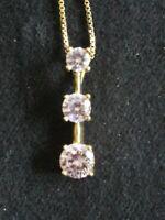 Sterling Silver Fine Box Chain W/ Pink Topaz Triple Stone Modern Pendant