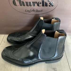 Church's Chelsea Boots RAVENFIELD black polished binder Size 9.5G UK Wide Fit