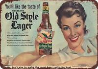 "1950's Heileman's beer old style lager Vintage Retro Metal Sign 8"" x 12"""