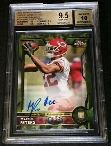 BGS 9.5 SUB 10 MARCUS PETERS RC AUTO /99 CAMO REFRACTOR ROOKIE 2015 Topps Chrome