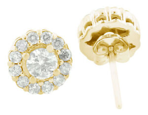 Natural 1.20Ct Round Diamond Cluster Flower Gallery Earrings 14K Yellow Gold