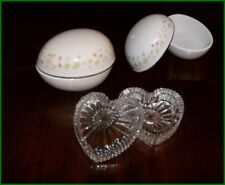 Lot 2 Vintage White Porcelain Floral Egg & Lead Crystal Heart Trinket Vanity Box