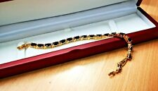 Yellow gold finish black Sapphires tennis bracelet gift boxed free postage