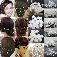 Elegant 20/40Pcs Wedding Bridal Bridesmaid Pearl Flower Crystal Hair Pins Clips