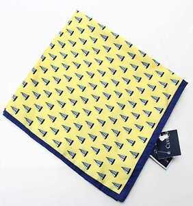 Club Room Allover Sailboats Novelty Men's Silk Pocket Square (Yellow)