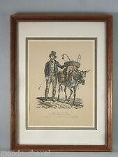 LITHOGRAPHIE ANCIENNE ENCADREE, C. Vernet, le marchand d'encre, âne, donkey