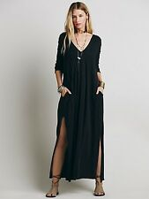 FREE PEOPLE Sophie Knit Pintuck Maxi Dress with Side Slits   Black   Size Small