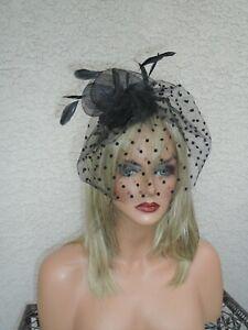Black veil fascinator polka dot large feathers funeral hat dress formal