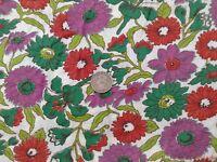Vtg Feedsack Flour Sack 37 x 43 Open Purple Orange Green Flowers Lilies Daisies