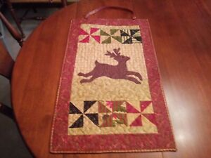 """Country/Farmhouse-Quilted-Reindeer Wall Hanging-32"""" x 16"""""""