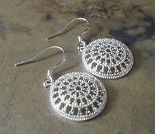 Damen Ohrringe Ohrhänger Rund - Schmuck - Farbe Silber - plattiert 0861