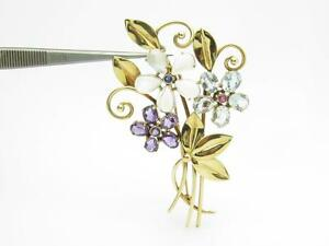 Tiffany & Co. 14k Yellow Gold Vintage Estate Flower Gemstone Brooch Pin Rare