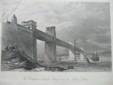 ANTIQUE PRINT 1854 THE BRITANNIA TUBULAR BRIDGE OVER THE MENAI STRAITS ENGRAVING