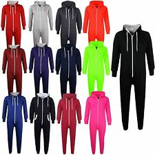Kids Girls Boys Plain Fleece Hooded A2Z Onesie One Piece All In One Jumpsuit5-13