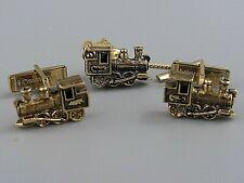Mens Vintage CUFFLINKS STEAM TRAIN ENGINE W/ TIE BAR Costume Jewelry P42