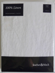 FEATHER & BLACK DOUBLE SIZE FITTED SHEET CAMILLE WHITE 100% LINEN LUXURY *NEW*