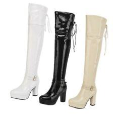 Шикарный женский готический пряжка блок высокий каблук на молнии выше колена ботфорты D