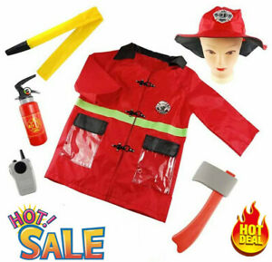 Kid Firefighter Costume Uniform Children Boys Fireman Dress Up Outfit Clothes UK
