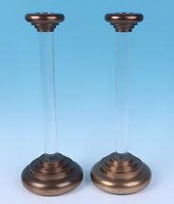 Pair Vintage Lrg Dolbi Cashier Lucite & Brass Candlesticks Hollywood Regency MCM
