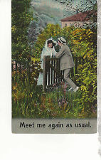 Meet Me Again as Usual Couple in the Garden   Mailed 1910  Postcard 1227