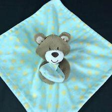 Little Miracles Aqua Green Yellow Stars Bear Baby Blanket Security Lovey CUTE