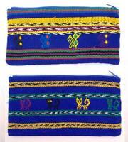 Guatemalan Bag Zipper Pouch Ikat Dusty Sunset Pink Mauve Black Southwestern Makeup Bag Woven Fabric Pencil Case