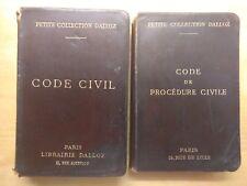 Le Code Civil & Le Code de Procédure Civile français Dalloz 1915