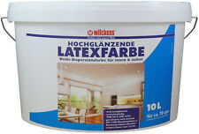 Latexfarbe Wandfarbe Fassadenfarbe hochglanz weiß innen/außen 10 Liter für 70m²