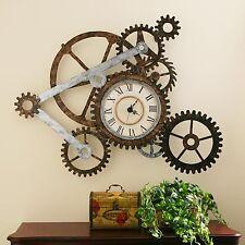 Metal Wall Clock Art Gear Industrial Home Decor Office Ticking Antique Steampunk