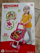 KIDS SHOPPING TROLLEY CHILDREN'S ROLE PLAY SUPERMARKET SET WITH FOOD ACCESSORIES