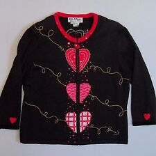 JACK B QUICK Valentines Sweater Medium Beaded Accents 3/4 Sleeves M Lightweight