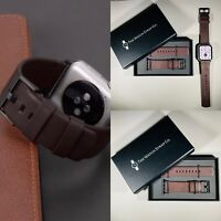 Brown Genuine Leather Strap For Apple Watch 42mm / 44mm Series 1,2,3,4,5,6,SE