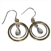 Two Tone - Moonstone - India 925 Sterling Silver Earring Jewelry AE52548 88Q