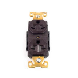Cooper 5662B Brown Double Duplex Receptacle | 15A 250V 2-Pole