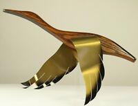 Wand Vogel aus Holz & Messing 3D Kunsthandwerk Deko Bild 50er 60er Jahre Vintage