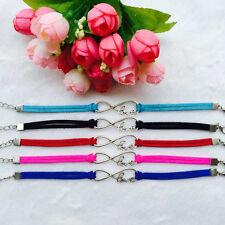 HOT 5Pcs mix Infinity leather Bracelet Faux Suede Friendship Eternal !Love