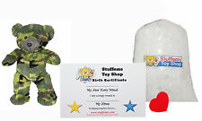 DIY Stuffed Animal Kit 8'' Camo Bear, Teddy Bear, No Sew Compatible w Webkinz