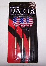 Set of 3 Hard Tip Darts American Flag Brass Barrels Poly Shaft Poly Flights NIB