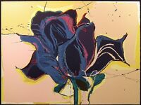 "Sally Anderson ""Blue Rose"" Hand Signed Lithograph Art Print, floral 1980s"