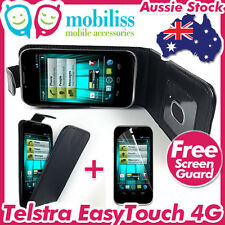 Telstra EasyTouch 4G T82 Black PU Leather Flip Case Cover Wallet Card Holder SP