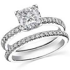 1.95 Ct. Cushion Cut Diamond Micro Pave U setting Engagement Set 14KG