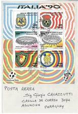 05436 - CALCIO - ITALIA 1990 FOGLETTO STADI SASS. 5 su BUSTA!