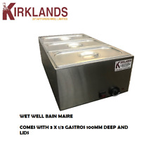 Wet well bain marie hot food sauce warmer with 1/3 gastronorms and lids