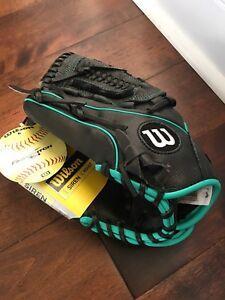 "WILSON A500 Adult Siren 11.5"" Fast Pitch SoftBall Glove (BLACK w/TEAL) LHT"