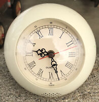 "Vintage Plastic Orb Quartz Table Clock 5 3/4 X 6"" Chimes Taiwan Works!"