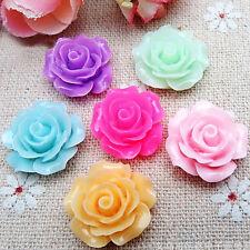 20pcs Mixed Resin Cabochon Rose Flower Flatback Retro Style Craft Decoration