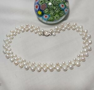 3-Rows cultured freshwater pearls 6.5-9mm 4A outstanding bridal necklace L42cm