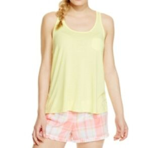 Jenni by Jennifer Moore Juniors Solid Pajama Tank Top, Chartreuse Yellow, XS