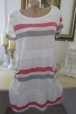 Sommer Strandkleid Freizeit Kleid Weiß Blockstreifen Einheitsgrösse 40-42-44