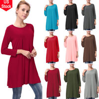 Ladies Women 3/4 Sleeve Swing Dress Skater Party Top Dress Tunic Stretch T-Shirt